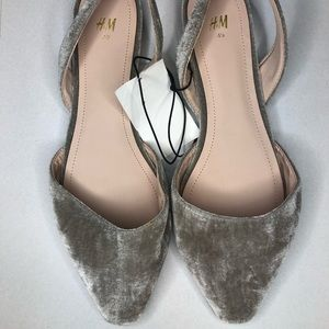 H&M Velvet Taupe/Grey Flats